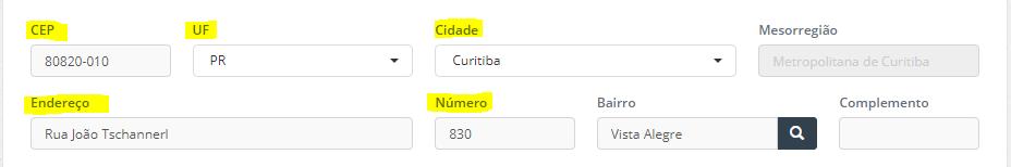 Campos obrigatórios para o funcionamento da busca no menu de Cliente